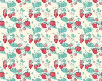 1/2 yd The Shabby Strawberry Main Floral by Emily Hayes for Penny Rose & Riley Blake C6040 Cream