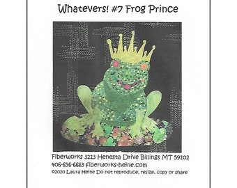 Whatevers Collage Pattern #7 Frog Prince by Laura Heine for Fiberworks FBWWHAT7