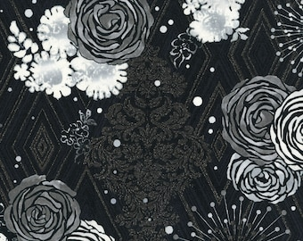 1/2 yd Shiny Objects Precious Metals Adornment Platinum Metallic Fabric by Flaurie & Finch for RJR Studios 3478-002