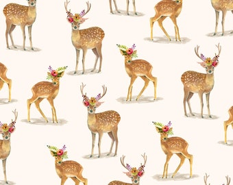 1/2 yd Wanderers Weekend Floral Fawn by Whistler Studios for Windham Fabrics 50787-2