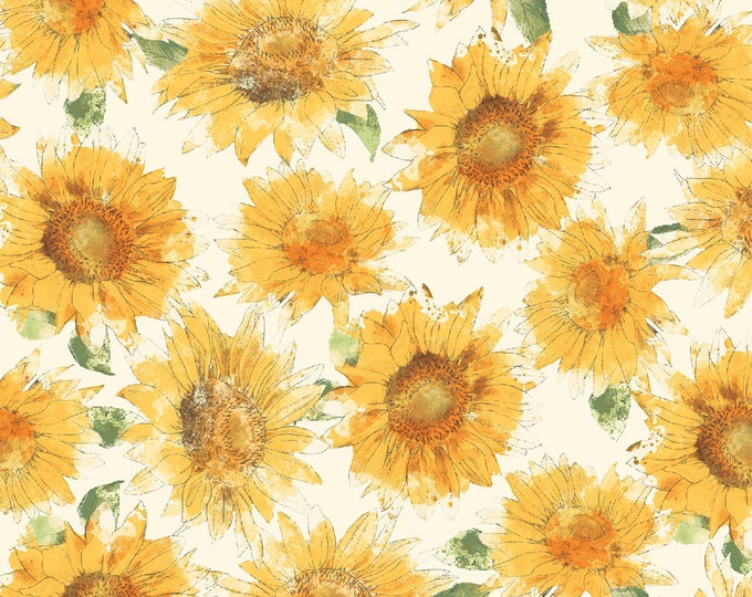 1/2 yd Bee My Sunshine Sunflowers by Katie Pertiet for Whistler Studios & Windham Fabrics 43315-3