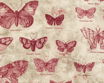 1/2 yd Eclectic Elements Red Butterfly Fabric by Tim Holtz for Coats & Clark PWTH004-RED