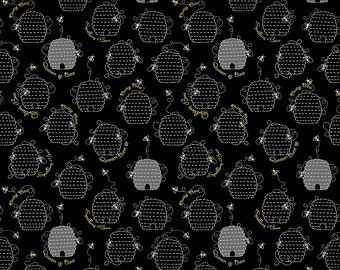 1/2 yd All The Buzz Beehive Fabric by Ink & Arrow for Quilting Treasures 27609-J