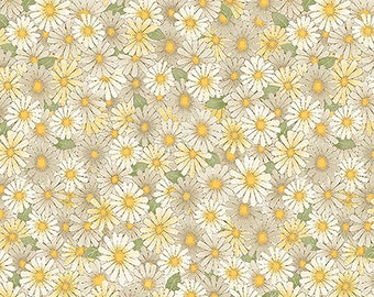 1/2 yd My Secret Garden Mocha Daisies Floral by Cheryl Haynes for Benartex Fabrics 7683-77
