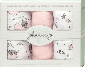 free shipping Johanna Jo Sweet Melody Designs Embrace Pink Stars Swaddle Blanket 3 Pack Shannon SWAD3SMDPINKSTARS
