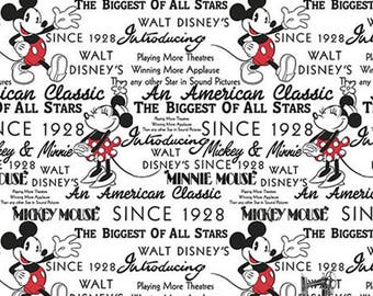 1/2 yd Mickey & Minnie With Words by Springs Creative Fabrics 65923-G550715