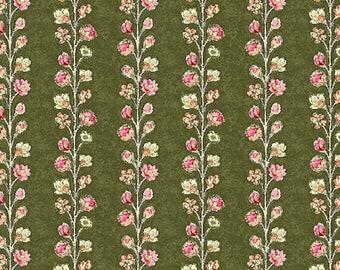 Samsara Olive Green Floral Stripe Fabric // Paintbrush Studio 120-12441 by the HALF YARD