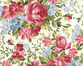 1/2 yd Roses on the Vine Rose Bouquet Fabric by Marti Michell for Maywood Studio MAS8432-E
