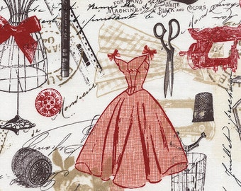 Bonjour Paris Vintage Dress Making by Timeless Treasures Fabrics C2329-RED by the Half Yard