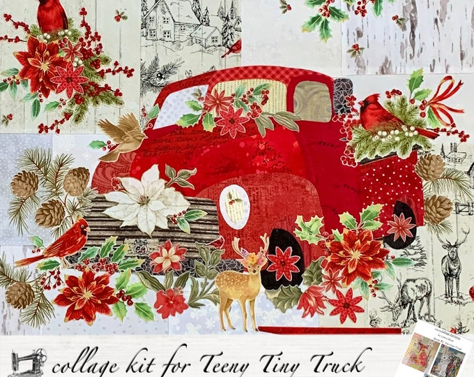 Featured listing image: Teeny Tiny Truck #2 // Red // Christmas Fabric Collage Quilt Kit for Laura Heine's Collage Pattern FBWTT2