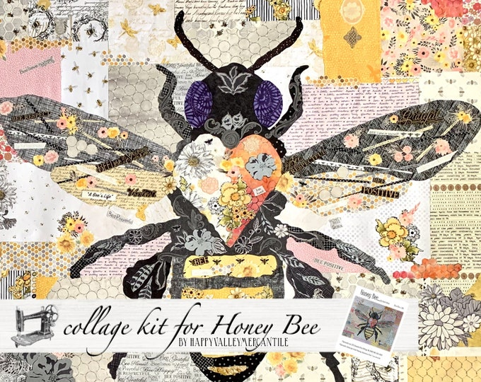 Featured listing image: Honey Bee Fabric Collage Quilt Kit for Laura Heine's Collage Pattern FBWHBEE