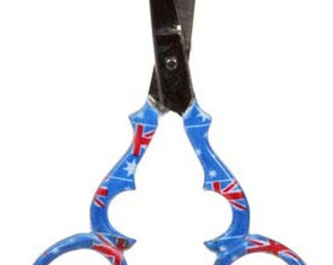 """Austrailian Flag 3-1/2"""" Stainless Steel Embroidery Scissors from ToolTron #TT00878AUS"""