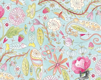 1/2 yd The Dress Aqua Garden by Laura Heine for FreeSpirit Fabrics PWLH002-AQUA