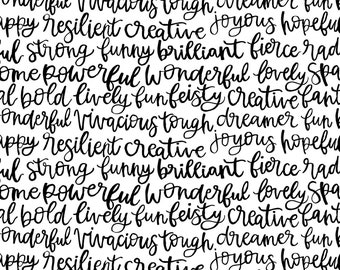 Ink Unleashed Brilliant Word Fabric // Michael Miller DC9391-BLAC-D by the HALF YARD