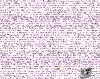 1/2 yd A Bird in Hand Words by Laura Heine for FreeSpirit Fabrics PWLH013.PINKX