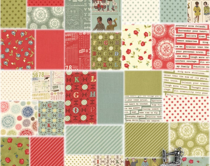 FREE SHIPPING Odds & Ends Fat Quarter Bundle by Julie Comstock for Moda Fabrics 37040AB