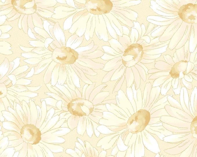 "END of BOLT 26"" Gentle Breeze Tonal Daisies Fabric by Jan Douglas for Maywood Studio MAS8513-E"