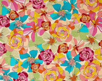 1/2 yd Thalia Large Floral Fabric by Ink & Arrow // June Bee for Quilting Treasures 26382-E