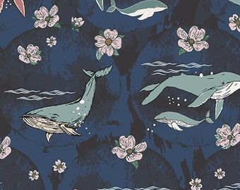 1/2 yd Enchanted Voyage Underwater Whales by MAUREEN CRACKNELL for Art Gallery Fabrics ENV-71780
