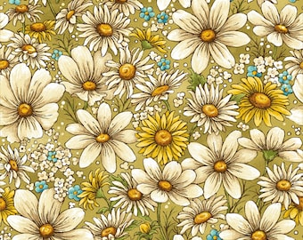 Bee Kind Daisy All Over Floral Fabric // Paintbrush Studio by the Half Yard