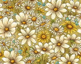 1/2 yd Bee Kind Daisy All Over Floral Fabric by Paintbrush Studio 120-99211