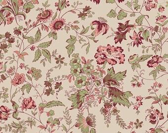 1/2 yd Callington Mill Main Floral by Leonie Bateman for Riley Blake/Penny Rose C6190-BEIGE