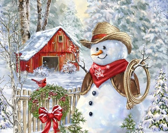 "Saddle Up Snowman 24"" Christmas Panel by Timeless Treasures PANELDG-C7591"