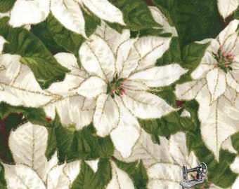 1/2 yd White Packed Poinsettia Metallic Christmas Fabric by Fabric Traditions 170545