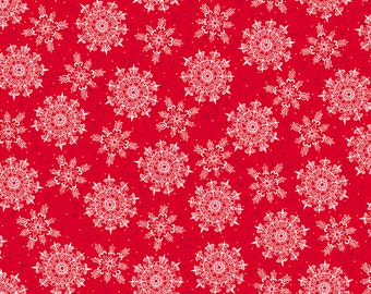 1/2 yd Pretty Poinsettias Snowflake Toss Fabric by Quilting Treasures Fabrics  27234 RZ