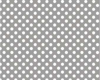 1/2 yd Riley Blake Knit Small Polka Dots Fabric K350-40 GRAY