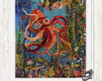 Octopus Garden Collage Quilt Pattern by Laura Heine for Fiberworks FBWOCTO