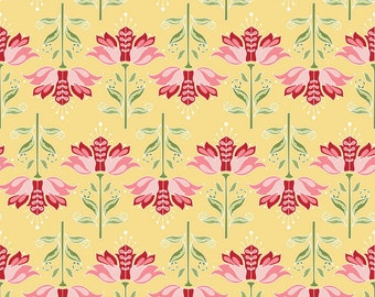 SALE Apple of My Eye Yellow Apple Floral Fabric by the Quilted Fish for Riley Blake Designs C2892 Yellow per YARD