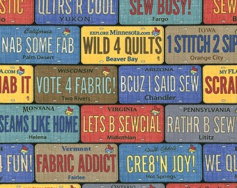 SALE Row by Row On the Go License Plates Fabric by Debra Gabel for Timeless Treasures C5061 PER yard