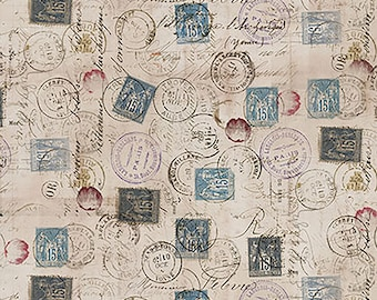 "REMNANT 17"" Correspondence Eclectic Elements Foundations Postage Fabric by Tim Holtz for FreeSpirit PWTH021.TAUPE"