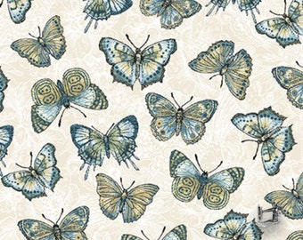 Butterfly Flowering Peony Floating Butterfly Fabric // Benartex 10003B-07 by the HALF YARD