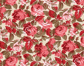 1/2 yd Rhapsody In Reds Tonal Floral Fabric by Kaye England for Wilmington Prints 1803 98652 132 Ivory