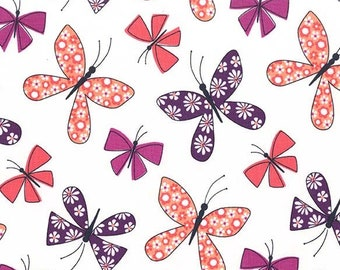 1/2 yd Saturday Morning Chasing Butterflies Fabric by Michael Miller Fabrics CX7314-BERR-D