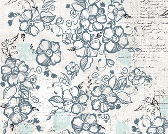 1/2 yd Farmhouse Fields Swoon Blooms by Adornit Fabrics 00678
