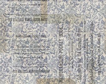 1/2 yd Memorandum Blue by Tim Holtz for FreeSpirit PWTH100.BLUE