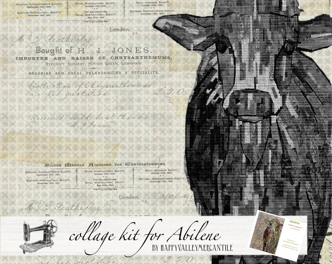Featured listing image: Abilene Fabric Collage Quilt Kit in Black/Grey/Cream/White for Laura Heine's Collage Pattern FBWA