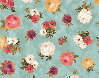 1/2 yd Lilian Tossed Floral Fabric by Quilting Treasures 26756 Q Aqua