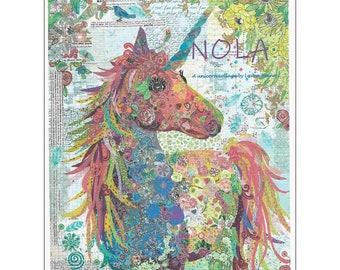 Nola the Unicorn Collage Quilt Pattern by Laura Heine for Fiberworks FBWNOLA