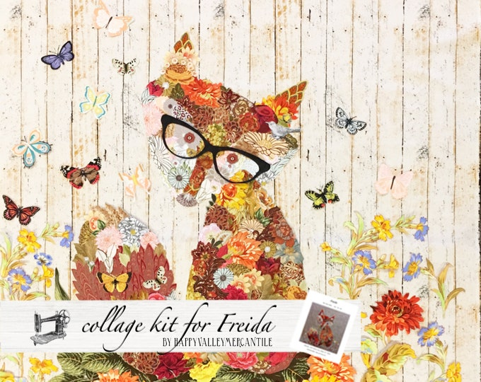 Featured listing image: Fabric Collage Quilt Kit for Laura Heine's Collage Pattern Freida FBWFREIDA