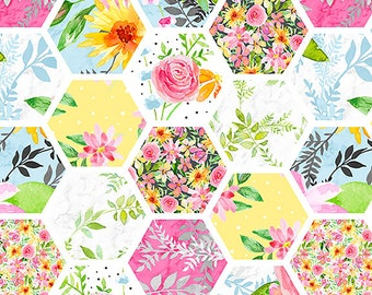 Boho Bouquet Hexies Fabric by Hope Yoder for Blank Quilting 1110-01 White by the Half Yard