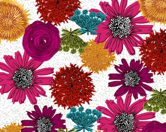 1/2 yd Maker's Home Hand Drawn Flowers by Natalie Barnes for Windham Fabrics 43147-1