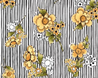 1/2 yd Bee Happy Black Flower Stripe by Loralie Designs Fabric 691-867