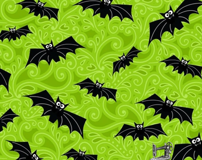 1/2 yd Fangtastic Glow in the Dark Bats Fabric by First Blush Studio for Henry Glass 1098G-66