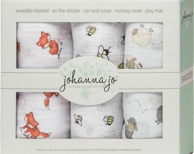 Shannon Embrace Double Gauze Swaddle 3 Pack Lambie by Johanna Jo SHASWAD3-LAMBIE