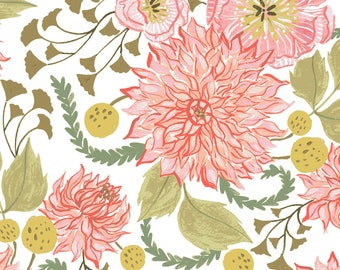 1/2 yd Fable White Floral by Rae Ritchie for Dear Stella Fabrics SRR826WHT