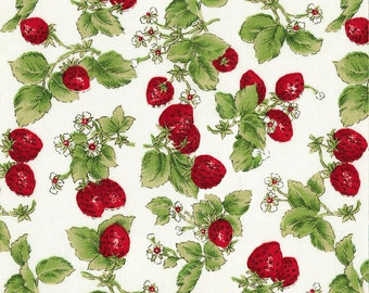 1/2 yd Rose & Hubble Strawberries by David Textiles Fabrics 117565-RH-2